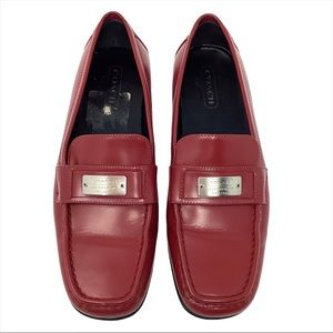 Coach Lora Red Leather Loafers MADE IN ITALY 7B